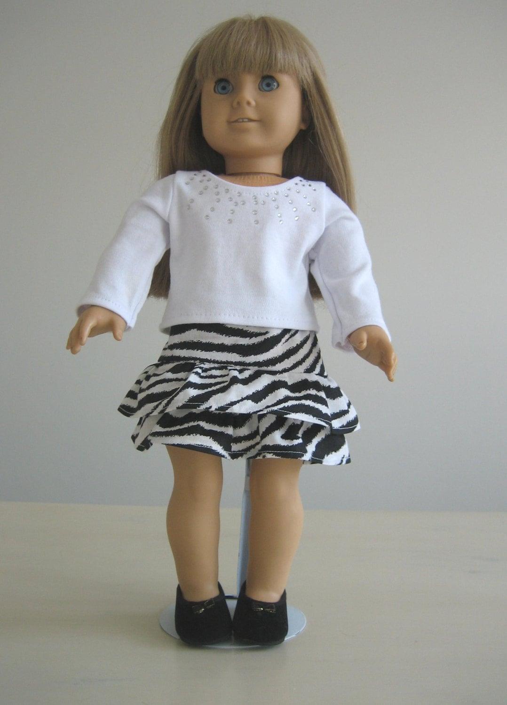 20 off eclipse sale doll clothes made for american girl dolls zebra print skirt white. Black Bedroom Furniture Sets. Home Design Ideas
