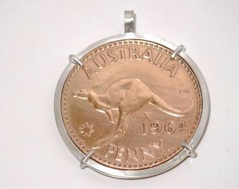 Australian penny handmade sterling silver pendant- Birthday- anniversary-keepsake-Copper coin