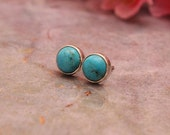 Turquoise studs - Turquoise earrings - Ear studs - Small studs - Round studs - Bezel studs - Post - Gift for her