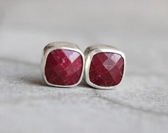 Ruby earrings - Ruby stud earrings - cushion studs - Bezel earrings - Gemstone earrings - Gift for her