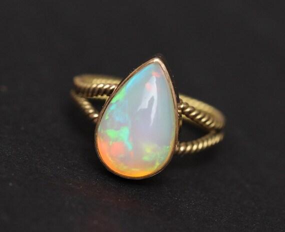 18K Gold Opal ring Natural Opal Ring Engagement ring