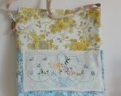 Bag vintage fabric yellow blue floral vase vintage embroidery