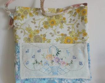 Bag vintage fabric yellow blue floral vase vintage embroidery