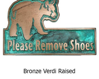 Mini Bear Cub Remove Shoes Plaque by Atlas Signs 8x5 inches of cuteness