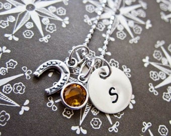 Tiny Sterling Silver Horseshoe Horse Shoe Charm Necklace - Mini Hand Stamped Initial And Swarovski Crystal Birthstone