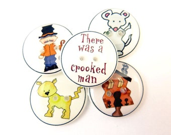 "5 Crooked Man Buttons. Children's Nursery Rhyme Handmade Buttons. Sew on.  3/4"" or 20 mm."