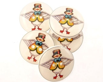 "5 Mother Goose Buttons.  Decorative Craft Novelty Resin Sewing Buttons. 3/4"" or 20 mm"