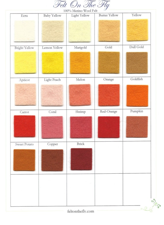 Wool Felt - CHOOSE THREE -  8 x 12 inch - Yellow Shades, Orange Shades - 100% Wool