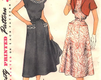 1950s Simplicity 4651 Misses Dress and Jacket Pattern Transfer Included Womens Vintage Sewing Pattern Size 16 Bust 34 UNCUT
