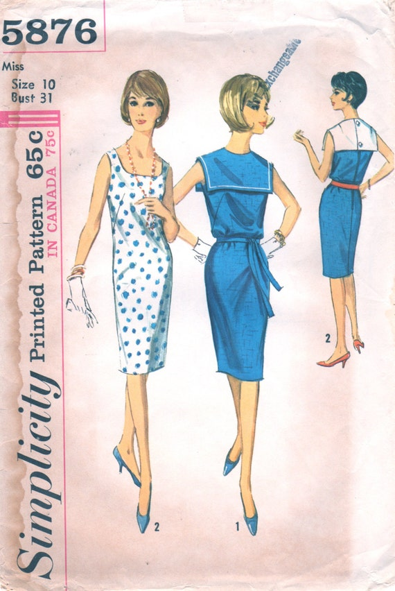 1960s Simplicity 5876 Misses SHIFT DRESS Pattern Scoop Neck - photo#40