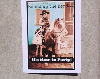 Party Pony male birthday card, funny vintage photo card #18