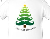 Baby boy first Christmas moustache design Christmas tree shirt or bodysuit - zoeysattic