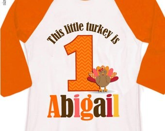 first 1st birthday fall thanksgiving kids personalized turkey birthday raglan shirt