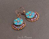 Handsculpted Earring Bohème peacock blue, fuchsia, orange &... ethnic chic, autumn, fall, colorful