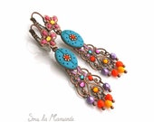Luxury peacock blue and colorful - Earrings dangle, chandelier, hippy chic, ethnic chic, bohemian, boho earring,