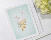 "greeting card - card -duckling - easter - bunny ears - baby - ""Spring Bloomers No.3!"""