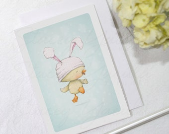 """greeting card - card -duckling - easter - bunny ears - baby - """"Spring Bloomers No.3!"""""""