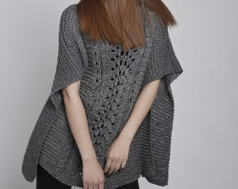 Woman sweater - hand knitted Poncho/ capelet in Charcoal