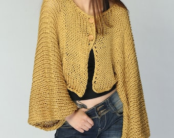 Mustard Yellow Kimono sleeve shrug/ little cardigan - ready to ship