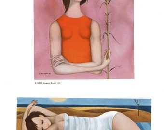 A Margaret Keane Big Eye Girl Lithograph Print Two Small Prints on One Page Girl with Flower and Beach Scene