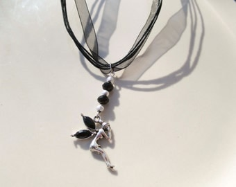 Black Ribbon Necklace with Silver Fairy Charm With Crystal Wings