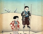 Vintage - 2 Japanese watercolor and ink paintings.  *Free shipping.