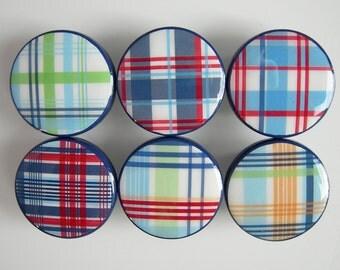 Plaid Knobs, Plaid Striped Drawer Knobs, Blue Plaid Knobs, Red Plaid, Green Plaid - Wood Knobs- 1 1/2 Inches - Made-to-Order