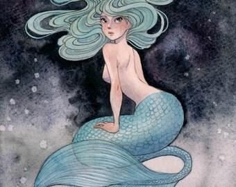 Blue Mermaid - 8x10 print