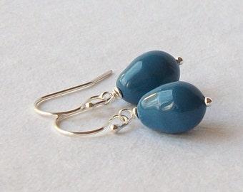 Lapis Blue Pearl Earrings, Bridesmaid Jewelry Gift, Pearl Dangle Drop Earrings