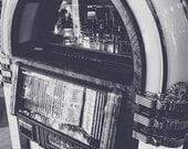 Vintage Music Jukebox Black & White Fine Art Print