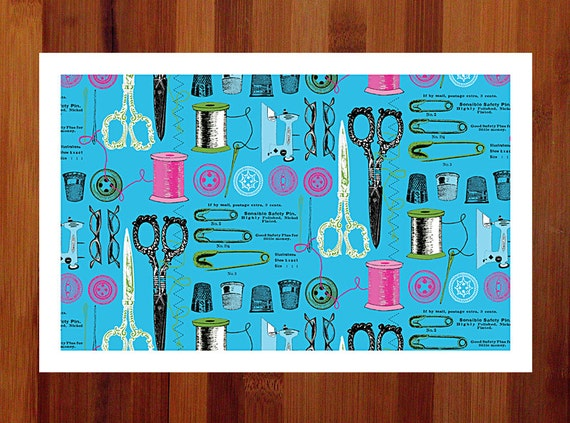 Craft Room, Craft Room Decor, Prints Illustrations, Quirky Art, Gift for Crafter, Poster Prints, 11 x 17, Teal Art, Teal and Pink, Fun Art