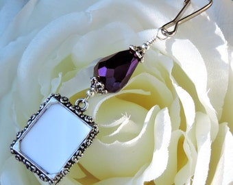 Wedding bouquet charm. Photo charm w/ purple crystal teardrop. Bridal bouquet charm. Gift for the bride. Gift for her. Memorial photo charm.