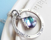 Eternity Ring Necklace - Swarovski Crystal Silver Necklace