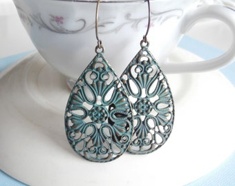 Large Statement Earrings - Lace Teardrops