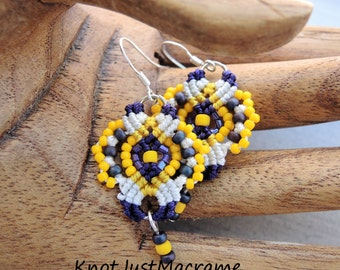 Purple, Yellow and White Lace Beaded Macrame Earrings MicroMacrame