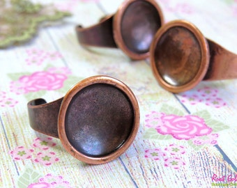 Round Antique Copper plated ring blank setting for 16 mm cab concave base, oxidized rustic , adjustable wide band , Statement ring bezel