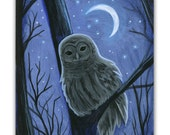 Barred Owl Original Miniature Painting on a Playing Card