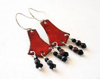 Red and black chandelier earrings - enamel jewelry - Boho jewelry - torch fired enamel