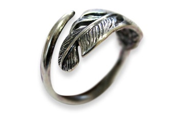 Silver Long Quilled Feather Ring - Sterling Feather Ring - Adjustable Feather Ring 330