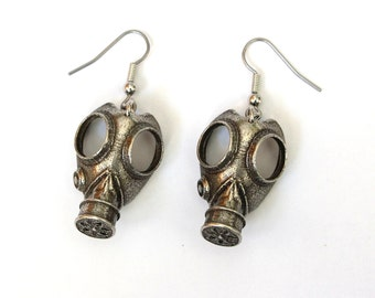 Gas Mask Earrings in Solid White Bronze Steampunk Gas Mask 279
