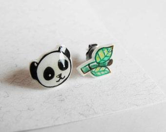 Panda bear earring studs, handmade jewel