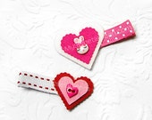 Felt Hair Clips, Bunny Hair Clip, Mismatched Clip Set, Felt Heart Clips, Kawaii, Red, Hot Pink, White, Felt Clips for Girls, Toddlers