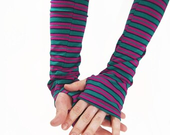Arm Warmers in Funky Striped Raspberry Pink and Kelly Green - Fingerless Gloves - Sleeves