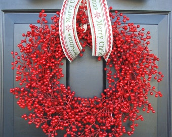 Christmas Wreath Berry Wreath Custom Holiday Bow, Holiday Decor, Merry Christmas Holiday Wreath, Red Berries, Designer Ribbon