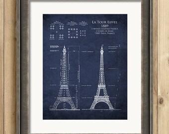 Eiffel Tower architectural blueprint, eiffel tower art