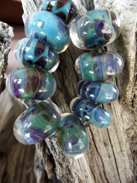 Caribbean Shores Turquoise, Blue and purples Boro Glass Beads.and crystals