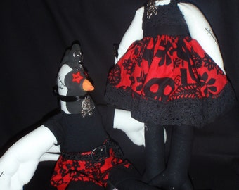 Cloth Critter Pattern - Fowl Fowl - goth chooks - hen and rooster  - print pattern ***SALE***