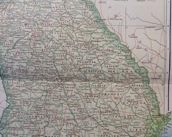 1903 State Map Georgia - Vintage Antique Map Great for Framing 100 Years Old