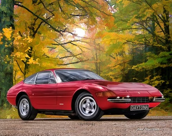 Classic Car Print - Ferrari 365 GTB 4 Daytona 1968–74 - Sports Car Print - 8x10 Print with 11 x 14 white matt.