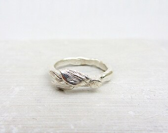 Three leaf sterling silver ring, Handcrafted statement sterling silver ring